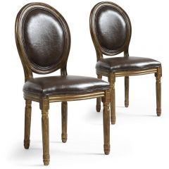 Lot 2 chaises médaillon Edimbourg simili marron patiné Or