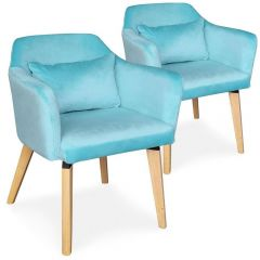 Lot de 2 chaises scandinaves Boy Velours Menthe