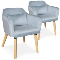 Lot de 2 chaises scandinaves Boy Velours Bleu ciel
