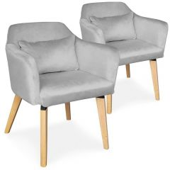 Chaises scandinaves Boy Velours Argent (Lot de 2)