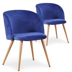 lot de 2 chaises scandinaves velours Bleu