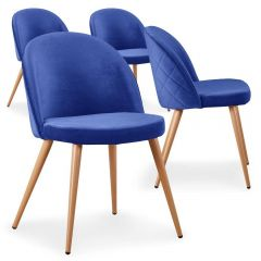 Lot de 4 chaises scandinaves Operan velours Bleu