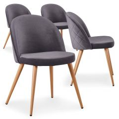Lot de 4 chaises scandinaves Operan velours Gris