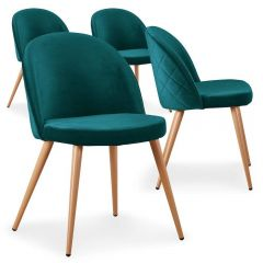 Lot de 4 chaises scandinaves Operan velours Vert
