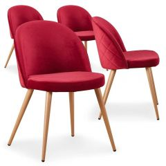 Lot de 4 chaises scandinaves Operan velours Rouge