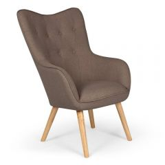 Fauteuil scandinave confort Alissia tissu taupe
