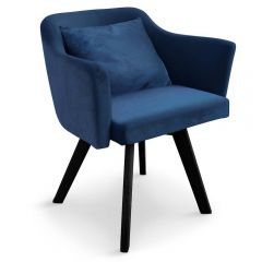 Chaise design scandinave Tove velours bleu