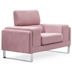 Fauteuil Club velours Rose Barnabe