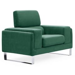 Fauteuil club Velours Vert Barnabe