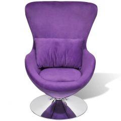 Fauteuil forme oeuf avec coussin violet