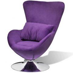 Fauteuil design forme oeuf avec coussin violet