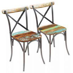 Lot de 2 chaises bois recyclé et metal Bako