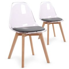 Lot de 2 chaises scandinaves plexi assise grise Leny