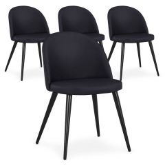 Lot de 4 chaises Scandinave simili Noir Parla