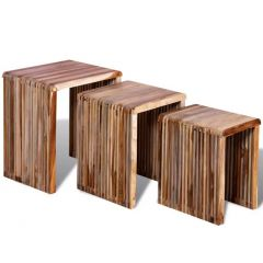 Lot de 3 tables Gigogne en Teck Recyclé