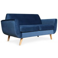 Canapé scandinave 2 places Velours Bleu Djurs