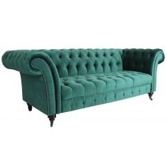 Canapé Chesterfield 3 places Velours Vert Star