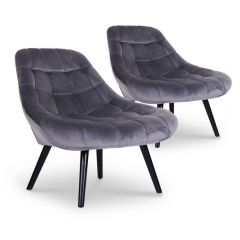 Lot de 2 fauteuils Scandinave Velours Gris Siero