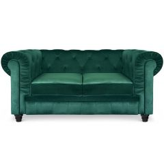 Canapé Chesterfield 2 Places Velours Vert Thun