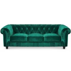 Canapé Chesterfield 3 places Velours Vert Thun