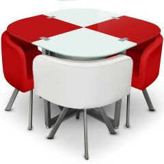Lot table et 4 chaises blanc et rouge Mermoz