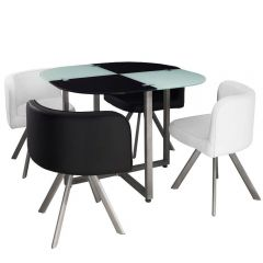 Lot table et 4 chaises blanc et noir Mermoz