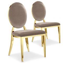 Lot de 2 chaises médaillon métal Vidin velours Taupe