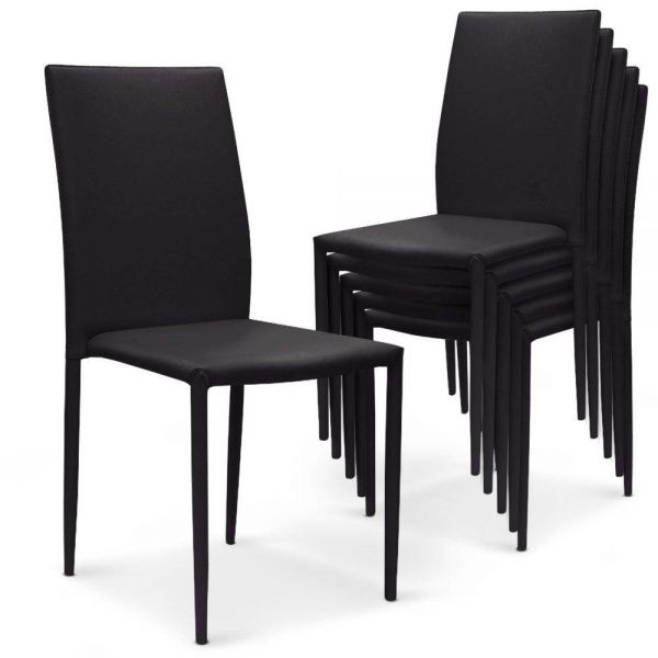 Lot 6 chaises empilables simili noir design nosand