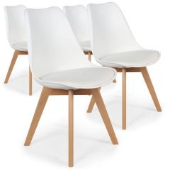 Lot de 4 chaises scandinaves bois simili blanc Conemara