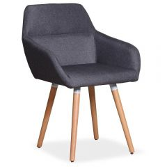 Fauteuil scandinave tissu gris fonce Arno