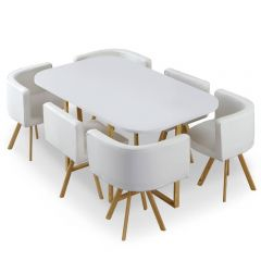 Lot table et 6 chaises Umea XL Blanc et Simili Blanc