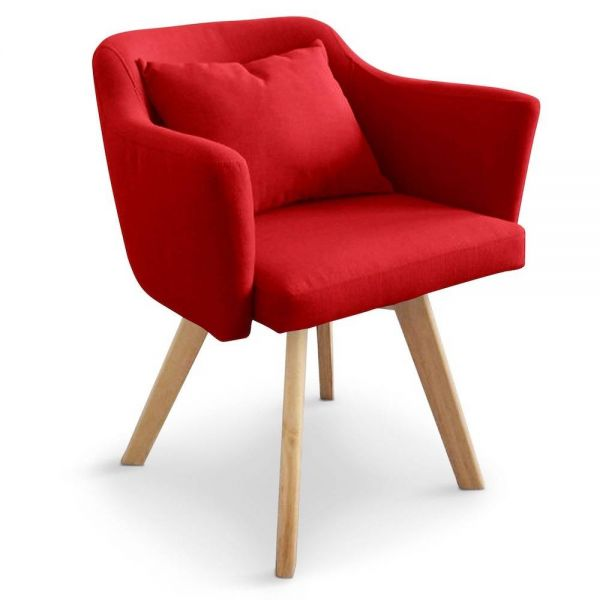 Chaise design scandinave Tove tissu Rouge