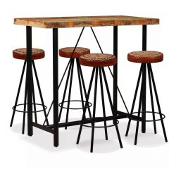 Lot table bar industriel bois recyclé et 4 tabourets cuir