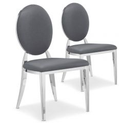 Lot de 2 chaises médaillon Vidin Simili Gris