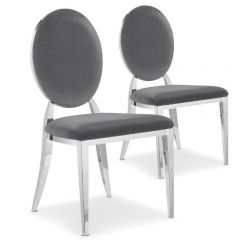 Lot de 2 chaises médaillon Vidin Velours Gris