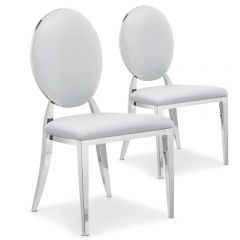 Lot de 2 chaises médaillon Vidin simili Blanc