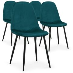 Lot de 4 chaises Lenao scandinaves Velours Vert