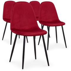 Ensemble de 4 chaises Lenao scandinaves Velours Rouge
