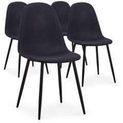 Lot de 4 chaises scandinaves Lenao simili Noir