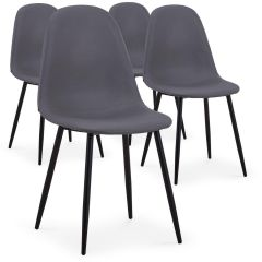 Lot de 4 chaises scandinaves Lenao simili Gris