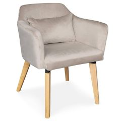 Chaise scandinave pieds bois Boy Velours Taupe
