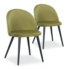 Chaises design Scandinave Parla Velours Kaki (lot de 2)