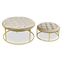 Poufs ronds Toxane Velours Taupe