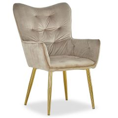 Fauteuil scandinave chic Nablo Velours Taupe