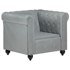 Fauteuil Chesterfield Classic Cuir Gris