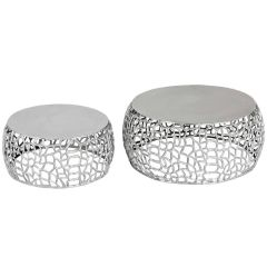 Lot de 2 tables basses design Orly Nickel