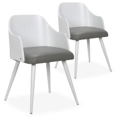 Chaises scandinaves Soyan blanc et gris (lot de 2)
