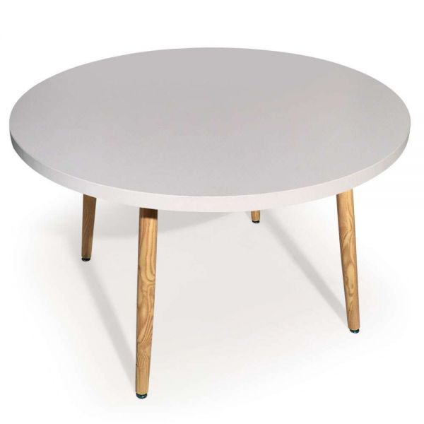 Table ronde 4 couverts scandinave blanche